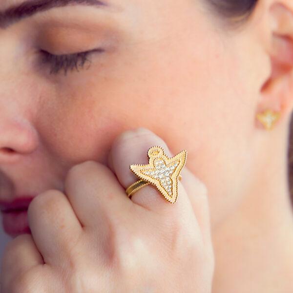 Anel Angel Design Ouro Amarelo 18K 750 com Diamantes - Anéis