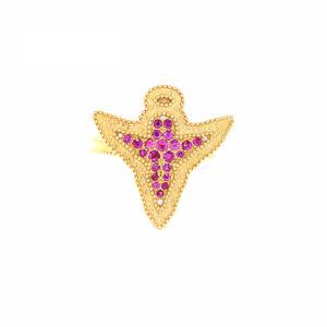 Anel Angel Design Ouro Amarelo 18K 750 com Safiras Rosas - Anéis