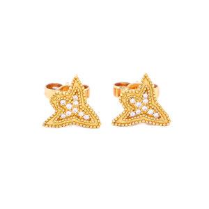 Brinco Angel Design Ouro Amarelo 18K 750 com Diamantes - Brincos