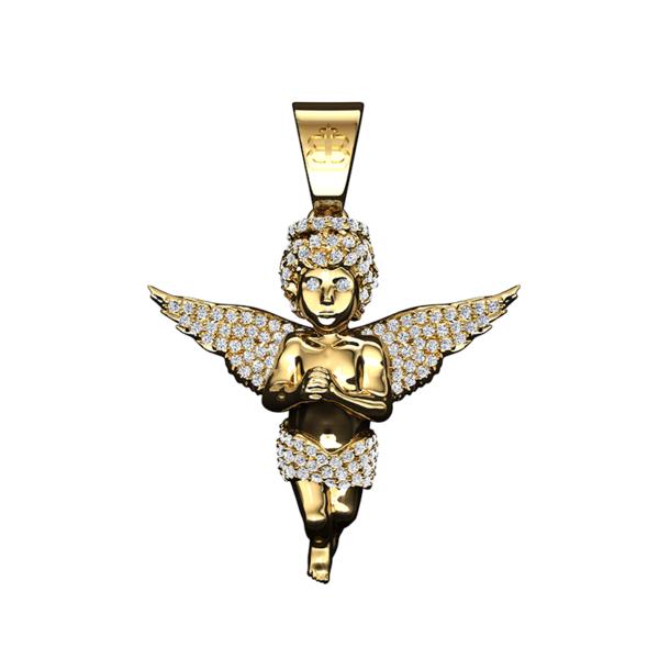 Pingente Angel 3D All Diamond  Medium Ouro Amarelo 18K 750 com Diamantes - Pendentes