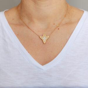 Colar Angel Design Ouro Amarelo 18K 750 com Diamantes - Colares